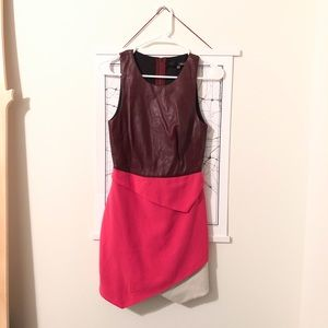 Faux Leather Bodycon Layered Asymmetrical Dress I